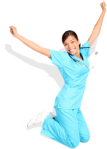 nurse jumping in excitement